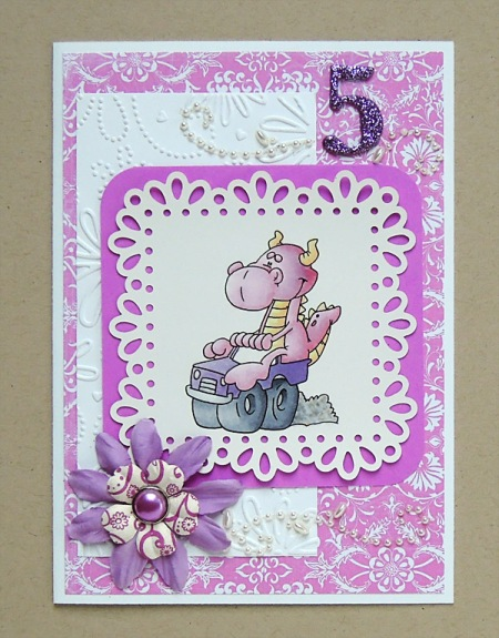 HeatherM pink dragon card