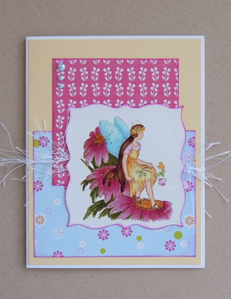 HeatherM yellow fairy card