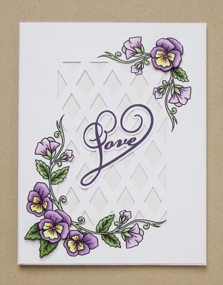 HeatherM purple pansies card using Delicious Doodles digi