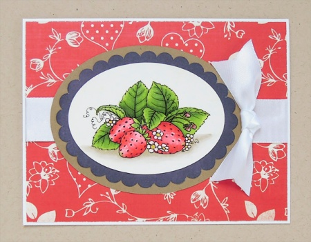 HeatherM Strawberry card using a Beccy's Place digi