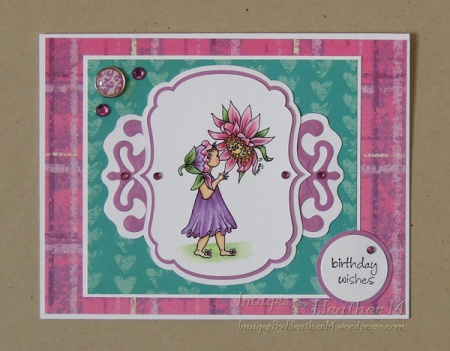"HeatherM using Digistamps4Joy digi ""Sunflower Pixie"""