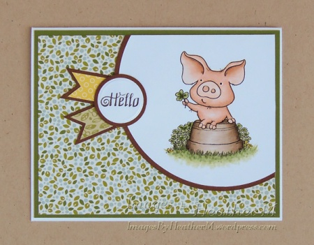 "HeatherM using From The Heart Stamps ""Hamlet PigWit Think Spring-Shamrock"""