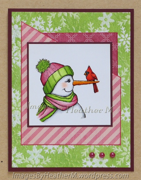 "HeatherM using From the Heart Stamps ""Snowlady and Cardinal"" digi"