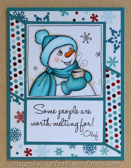"HeatherM using From the Heart Stamps ""Snowman and Cocoa"" digi"
