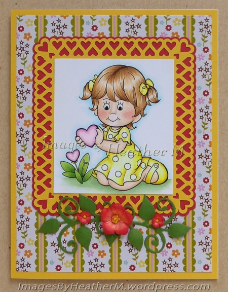 "HeatherM using Angie's Digi Stamps ""Little Lila Picking Flowers"""