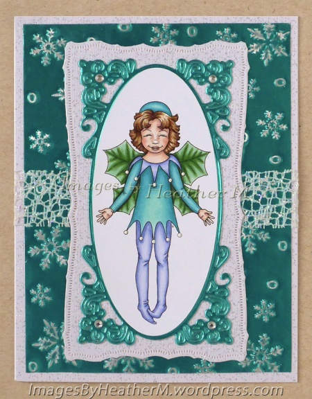 """HeatherM using Beccy's Place """"Holly Fairy"""" digi from the Flower Fairy set."""