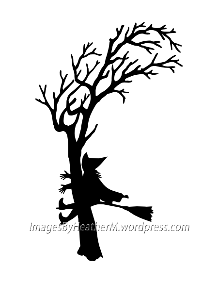 Witch Crash Silhouette with svg and dxf files